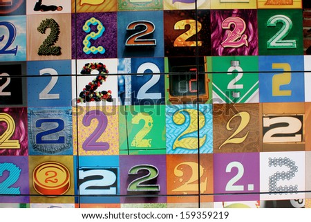 Colorful Toronto Twos - A Collage of the Number Two That Seem to Stretch Endlessly - stock photo