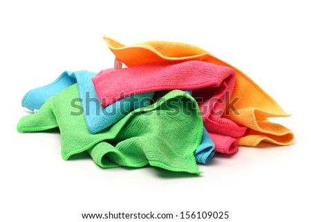 Colorful towels on white background