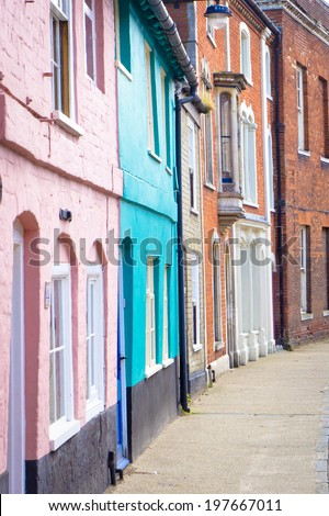 Colorful town houses in Bungay, Suffolk - stock photo