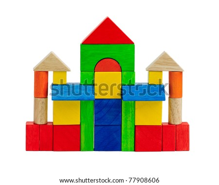 Colorful toy blocks children enjoy to build and creates themselves to be a castle or tower - stock photo