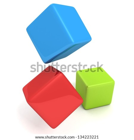 colorful toy cube blocks on white background
