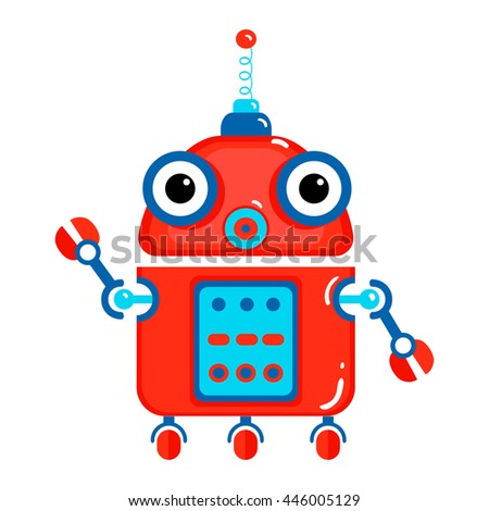 Colorful Toy robot. Cartoon character illustration