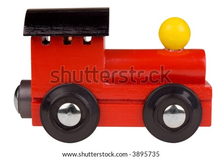 Colorful Toy train engine isolated on white background with a clipping path - stock photo