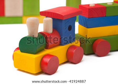 Colorful toy train isolated on white background - stock photo
