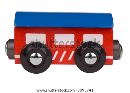 Colorful Toy train passenger car isolated on white background with a clipping path - stock photo