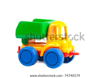 Colorful toy truck isolated over white background - stock photo