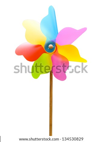 colorful toy widmill isolated on a white background - stock photo