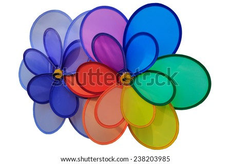 Colorful toy windmill isolate  white background - stock photo
