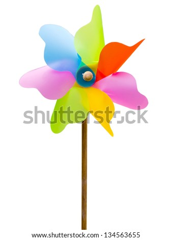 colorful toy windmill isolated on a white background - stock photo
