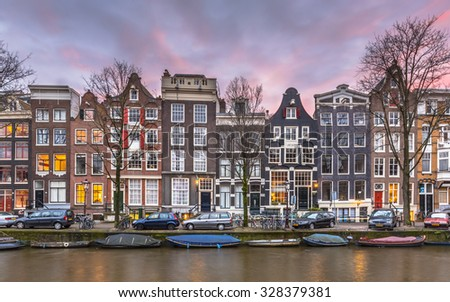 Colorful traditional canal houses on Brouwersgracht in the grachtengordeal the UNESCO World Heritage site of Amsterdam - stock photo