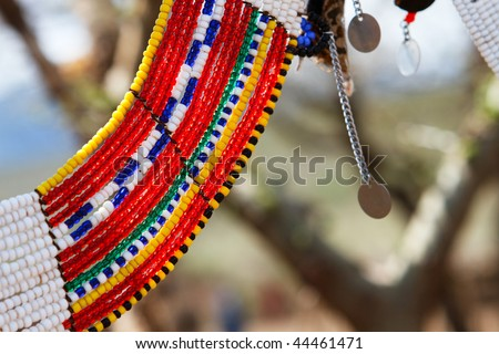 Colorful traditional jewelry of Masai tribe - stock photo