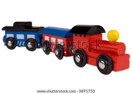 Colorful train toy isolated on white background with a clipping path - stock photo