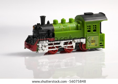 Colorful Train Toy on white background - stock photo