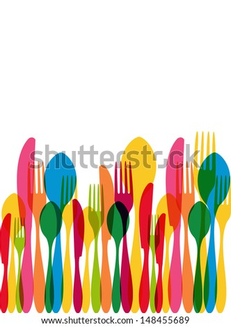 Colorful transparency cutlery seamless pattern. - stock photo