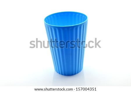 Colorful Transparent Plastic Cups on White Background