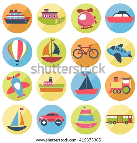 Colorful transport icons set. Raster version - stock photo
