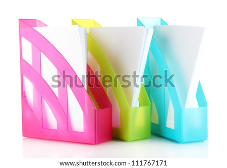 Colorful trays for papers isolated on white - stock photo