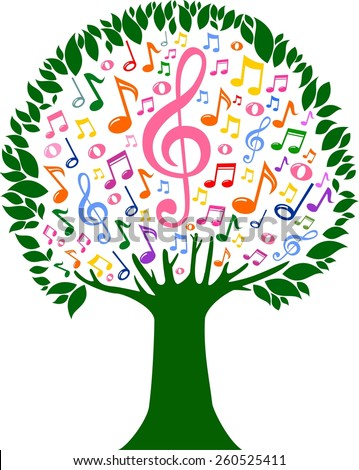 Colorful tree from musical notes isolated on White background. illustration.
