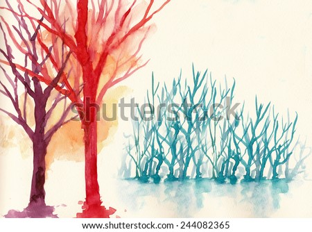 colorful trees in winter background water colour painting - stock photo