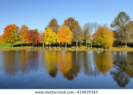 Colorful Trees Reflecting in Water in Autumn - stock photo