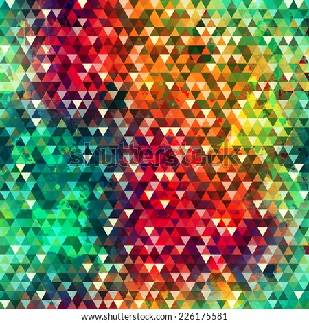 colorful triangle seamless texture with grunge effect (raster version) - stock photo