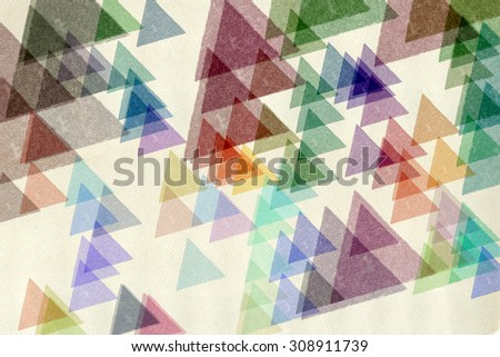 Colorful triangles paint smudged pattern on textured paper. Abstract grungy shapes background digital illustration. - stock photo