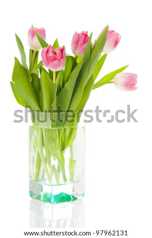 Colorful Tulip bouquet isolated on white - stock photo