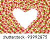 colorful tulip flowers. beautiful flower frame in heart shape - stock photo