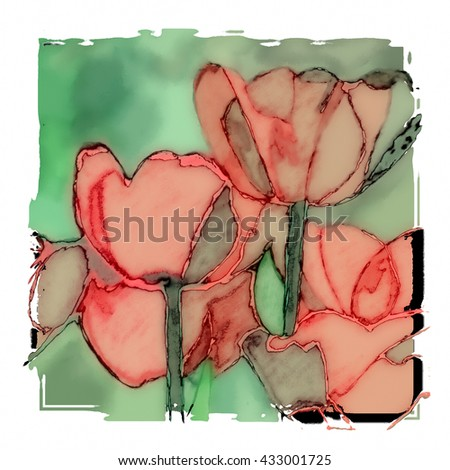 Colorful Tulips flowers background , watercolor illustration - stock photo