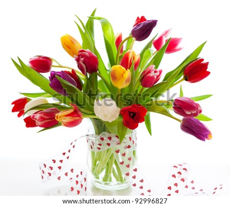 colorful tulips on the white background - stock photo