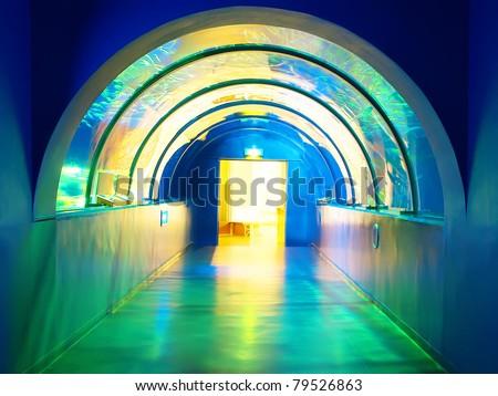 Colorful tunnel in aquarium - stock photo
