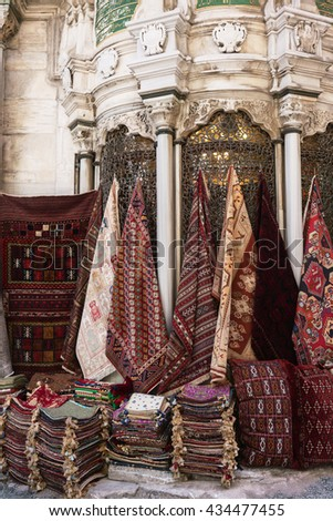 Colorful Turkish carpets in the Grand Bazaar of Istanbul, Turkey