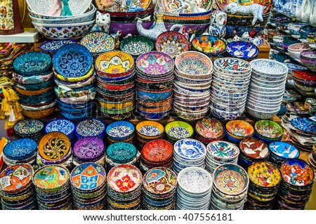 Colorful Turkish dishes in the Grand Bazaar of Istanbul, Turkey - stock photo