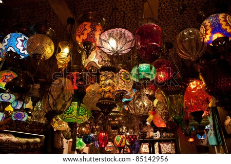 Colorful Turkish lanterns in the Grand Bazaar of Istanbul, Turkey. A popular souvenir for Tourists - stock photo