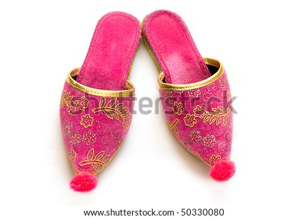 Colorful Turkish slippers isolated on white