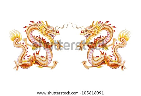 Colorful twin golden dragon statue on white background