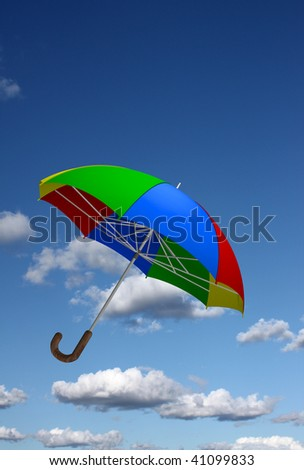 Colorful umbrella flying in the sky