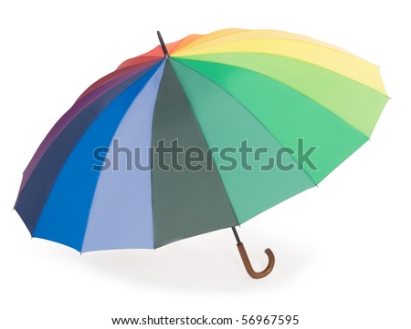 Colorful umbrella isolated on the white background - stock photo