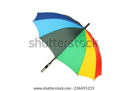 Colorful umbrella isolated on white - stock photo