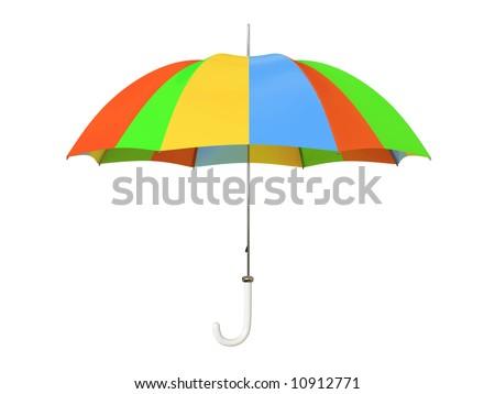 Colorful umbrella isolated on white background - stock photo