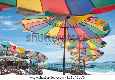 Colorful umbrella on the beach , Phuket Thailand - stock photo