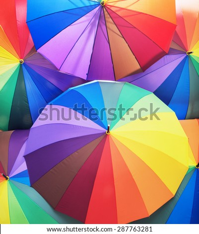 Colorful umbrellas - stock photo