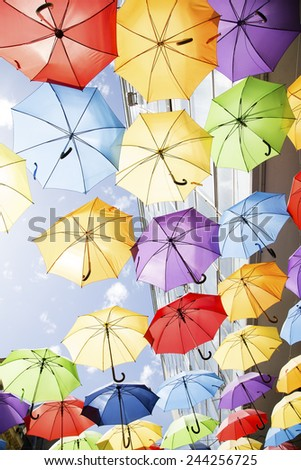 Colorful umbrellas background - stock photo