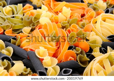 colorful uncooked pasta