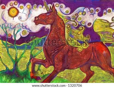 colorful unicorn - stock photo