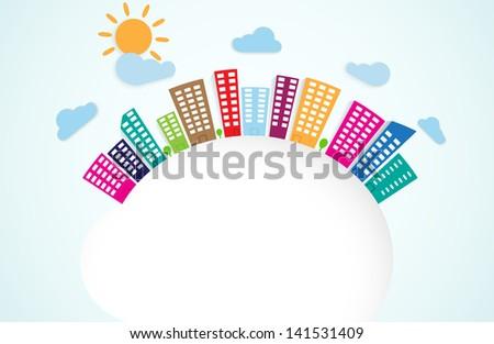 colorful urban scene on circle - stock photo