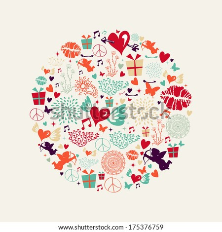 Colorful Valentines day greeting card circle shape illustration. - stock photo