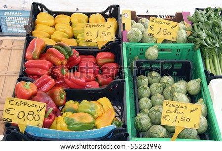 colorful vegetable at the open market in Italy - stock photo