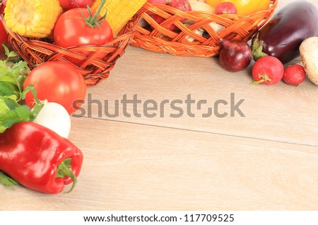 Colorful vegetable frame - stock photo