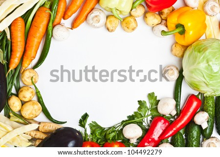 Colorful vegetable frame, healthy food concept. - stock photo